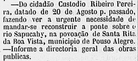 Trecho do jornal Diário de Minas, de 22 de setembro de 1875