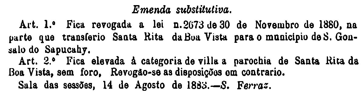 Trecho da emenda substitutiva que elevou Sta Rita a vila