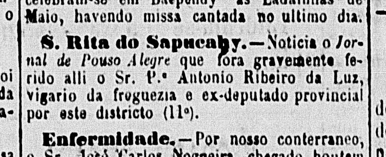 Notícia publicada no Baependyano, em maio de 1885