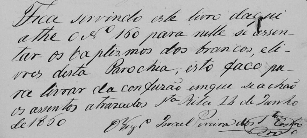 Anotação do Pe. Israel Pereira no 1º livro de matrimônios da paróquia