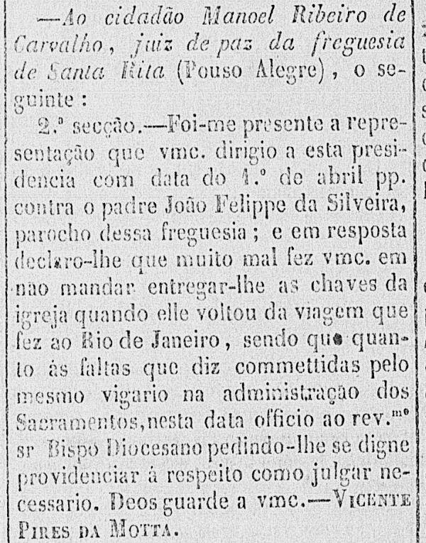 Trecho do Correio Oficial de Minas Gerais, de 1860, com a bronca do Presidente de Minas