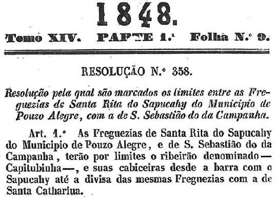 Resolução 358, de 1848, que estabelece as divisas entre Sta Rita do Sapucaí e Pedralva.