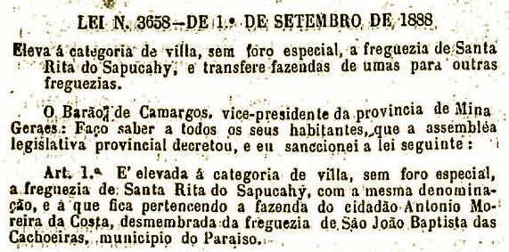 Lei Provincial de 1888 que eleva Sta Rita a vila e agrega a fazenda Pedra Redonda a nova vila.