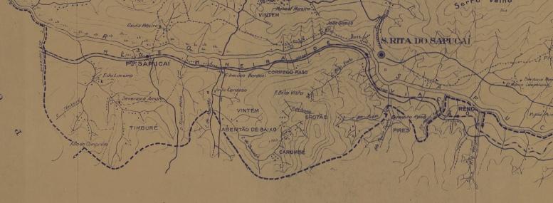 Mapa de 1939 onde podemos ver o Abertão e Timburé como terras santa-ritenses