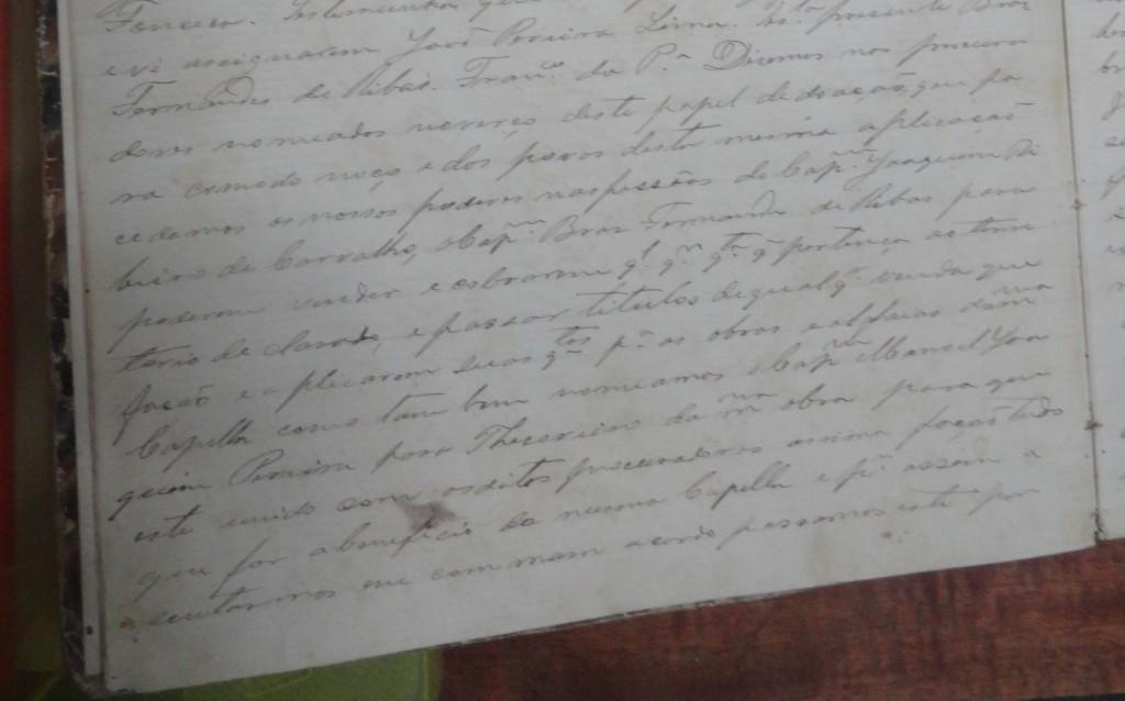 Registro no livro de notas do Fórum de Santa Rita, onde consta as nomeações e as renúncias citadas acima.
