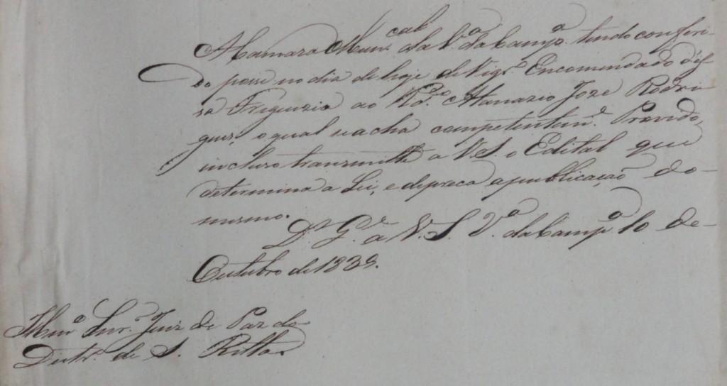 Posse do Vigário da Paróquia de Santa Rita, Pe Atanásio José Rodrigues, consedida pela Câmara de Campanha, em 1839