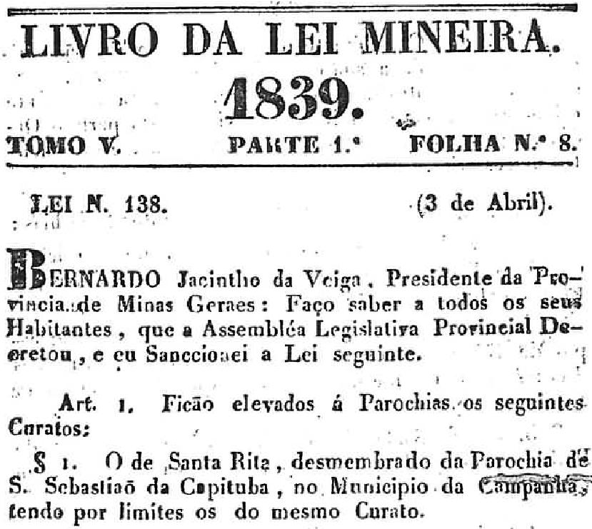 Lei 138, de 1839, elevando a Paróquia o Curato de Santa Rita.