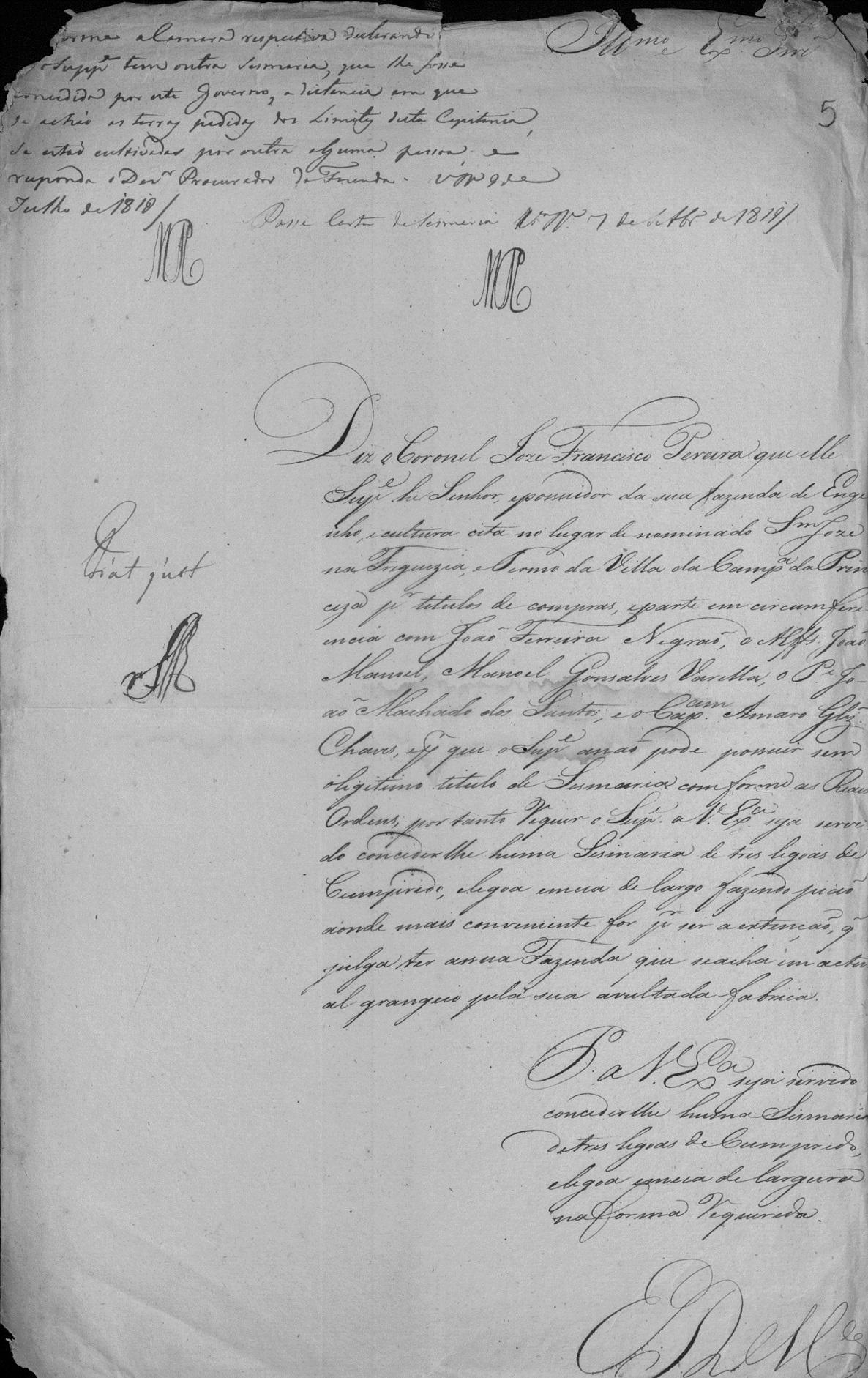 Petição de concessão da sesmaria de São José
